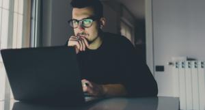 computer hack man on laptop
