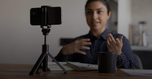 Job candidate conducting a one-way video interview on their phone